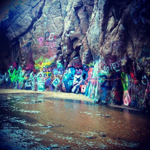 #Graffiti #Water #Stream #Waterfall #SprayPain #Neon #ManitouSprings #Rocks #Bridge #Board #Happyness #Enjoying #Life #Fun #Observable #OverLoad #Awesome #Colorado #Bridge (Taken with instagram)