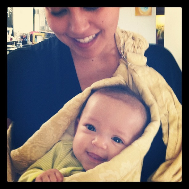#babywearing around the house! People have started saying that the twins are spoiled since we hold them so much. I think this #smile speaks for itself. #babygirl  (Taken with instagram)