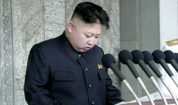 picturesofwar:  Kim Jong-Un speaking publicly for the first time during a speech in Pyongyang, North Korea on the 100th birthday of the nation's founder, and his grandfather, Kim Il-sung. The speech comes days after a failed rocket launch, at the cost of an estimated 850 million dollars - enough to feed 19 million of the country's citizens for an entire year, according to Yonhap.