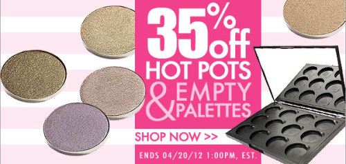 makeupbox:  Get 35% off Coastal Scents Hot Pots and Magnetic Palettes from now to 20/4/2012, 1pm EST —- Whether you're a budding makeup artist or just building up your collection of eyeshadow shades, now's a good time to check out Coastal Scents Hot Pots! These 26mm shadows are exactly the size of MAC refills, come in a big selection of shades and cost $1.99 each. Plus, they usually give you a free 12-pan palette if you buy 12 pieces of eye shadows. The quality has been fair-to-good for me so far, with the stars being all the metallics, though a few of the matte shades I got had lower color-payoff than higher-end brands. P.S. Coastal Scents ships internationally.  Get this