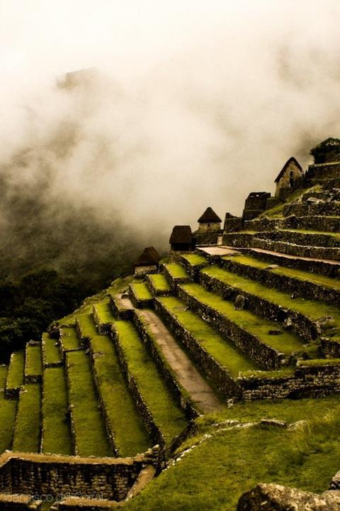 Machu Picchu Side terraces - by Francisco Del Corral