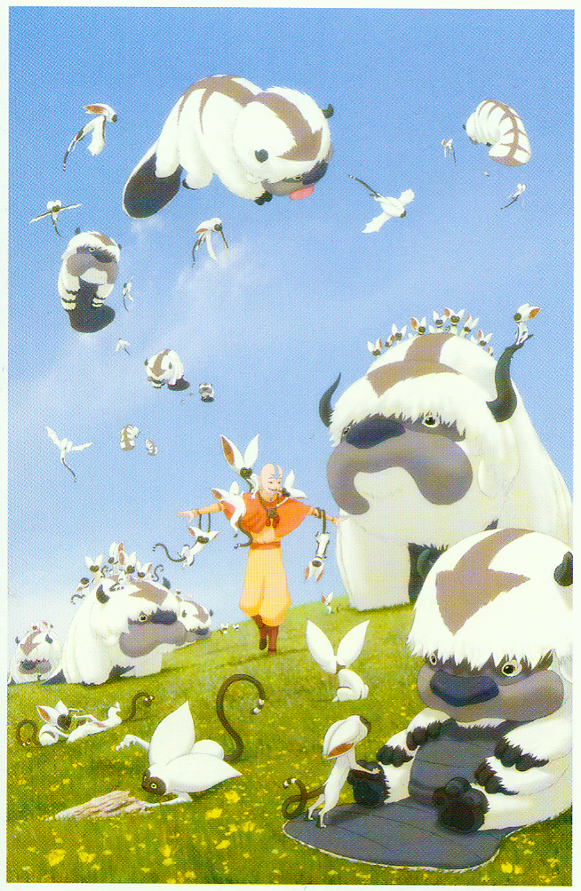 makowithasword:  shinyv:  Aang finds more sky bison and flying lemurs! this is my favorite thing ever okay here is a giant version that i found on ebay someone should buy it and scan it because details, man [comicon 2009 poster by bryan konietzko]  If I was surrounded by sky bisons and winged lemurs, I would seriously die of cuteness-overload.