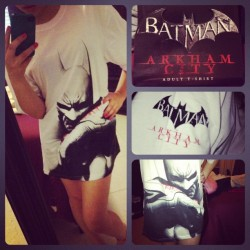 my new #batman pajamas!!! I'm in love!! #arkham #city #dark #knight #me 😍😊 (Taken with instagram)