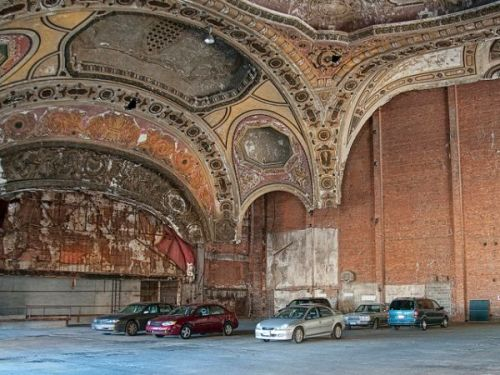http://www.urbanghostsmedia.com/2011/04/michigan-theater-detroits-famous-renaissance-style-parking-garage/
