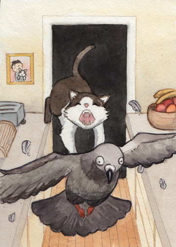 "Pigeon Hunt  5""x7"" prints available on Etsy for $7"