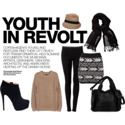 YOUTH IN REVOLT by melbgirl featuring high heel bootsLe Mont St Michel knit topmychameleon.com.auPanel legging$150 - witchery.com.auKnit skirt$70 - generalpants.com.auHigh heel boots170 AUD - sirenshoes.com.auStudded bag$950 - cultstatus.com.auLinen shawl$20 - witchery.com.auFelt hat$60 - witchery.com.au