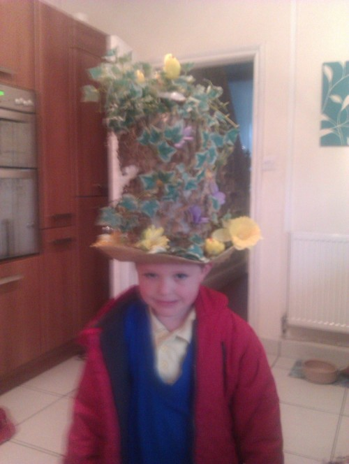 Easter bonnet, tree stump. Won first prize.