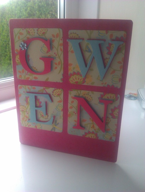 This Easter sees me return to card making. I used my new Big Shot machine with lettering dies to make this birthday card for my niece Gwen. Lots of lettering projects to follow I think.