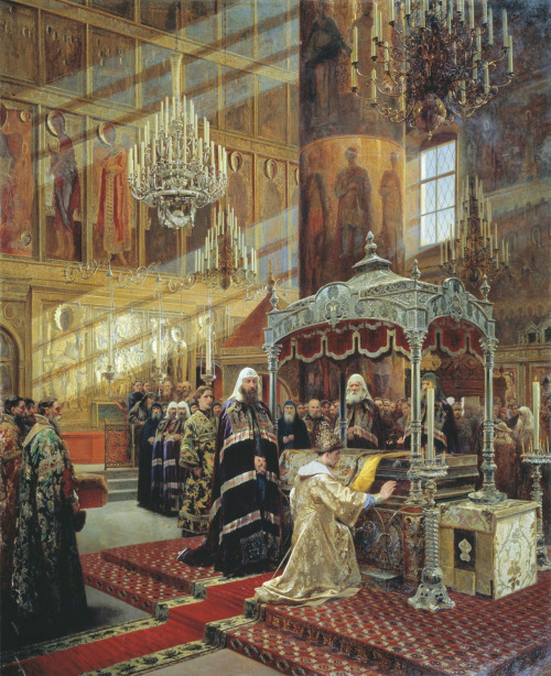 disturbthebookmites:  Young Tsar Alexis Praying Before the Relics of Metropolitan Philip in the Presence of Patriarch Nikon, Alexander Litovchenko, c. 1880.