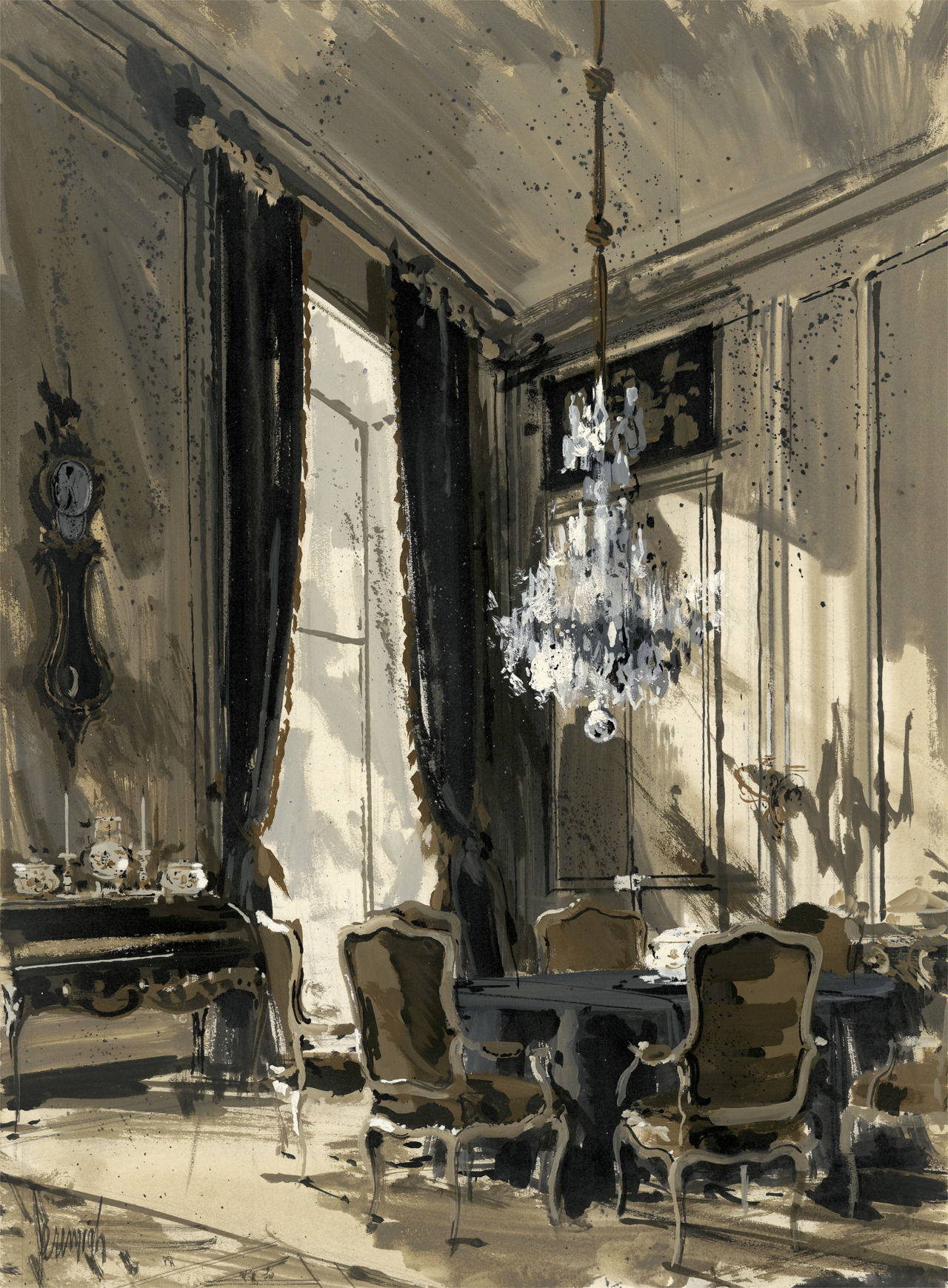 "Jeremiah Goodman Dining Room of the Interior Designer Carlos de Beistegui ,  Paris, 1960 Jeremiah Goodman born in 1922 has painted illustrations of interior spaces for nearly every design magazine from the 1950s through the present. His moody gouache paintings ""interpreted"" the homes of international luminaries and spaces created by global design leaders: Bruce Weber, Edward Albee, Yves Saint Laurent, Mario Buatta, Billy Baldwin, Elsie de Wolfe, Diana Vreeland, the Duchess of Windsor, Rose Cumming, Sir John Gielgud' Greta Garbo, Cecil Beaton, etc."