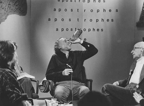 Charles Bukowski, drinking whenever he feels like it.