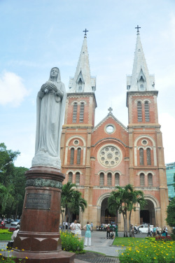 saigon cathedral notre-dame basillica. ho chi minh city. saigon. vietnam. april 2012.