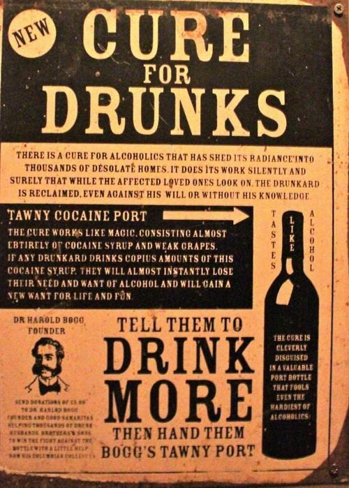 Tools of trade blueruins:  A nice Sunday morning remedy: New Cure For Drunks, A Tawny Cocaine Port.