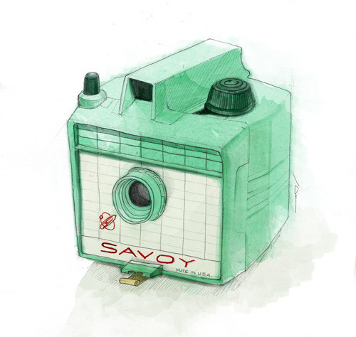 Imperial SavoyThis 6x6 format plastic camera was produced around 1956-1965 by the Herbert George Co. I love it's retro-futuristic design and it's colors!
