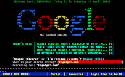 BBS version of Google takes you back in time, won't hog your phone line James Trew, engadget.com If the third digit of your birth year is a nine (or heck, a zero), you'll like­ly never have expe­ri­enced the true agony joy that was BBS or Bul­letin Board Sys­tems. Well, thanks to nos­tal­gic devel­op­er Nor­bert Land­stein­er, you can take a…