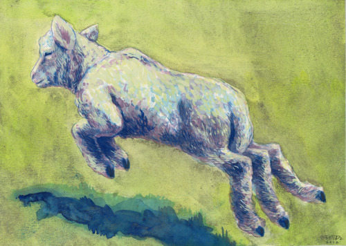 small lamb 4 watercolor & silver powder: 29.7 x 21 cm