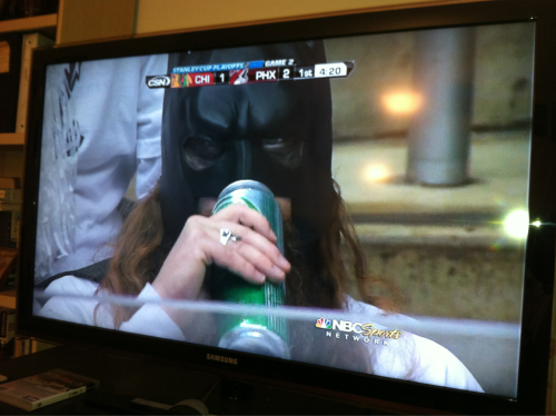 """Alfred, hold my calls. I'm at the Coyotes game."" - Batman."
