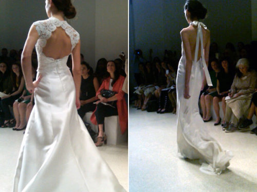 bridalguidemag:  Hot from the NYC bridal runways: Amsale is bringing sexy back. Perfect for the sultry bride! See more new wedding dresses  I want the one on the left. Hardcore.