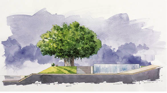 Watercolor rendering of the design for Samir Kassir Square in Beirut, Lebanon. Designed by Vladimir Djurovic Landscape Architects.