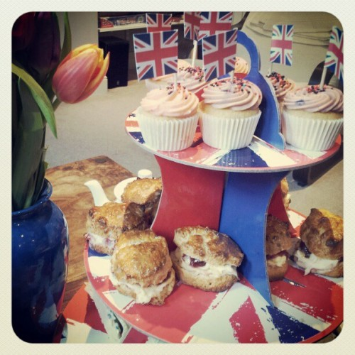 helping @emrocro celebrate her UK citizenship by eating cake (Taken with instagram)