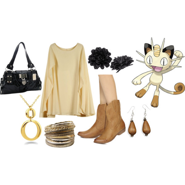 Meowth by catloverd featuring flower hair accessories Beige dress, $44Forever 21 kitten heels, $33Diamond bangle, $5.99Gold teardrop necklace, $40Brown earrings, $6.95H M flower hair accessory, £1.99