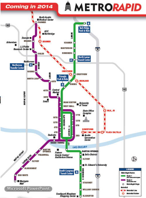 Bus Rapid Transit (BRT) is coming to Austin in 2014. Not too shabby, I guess.