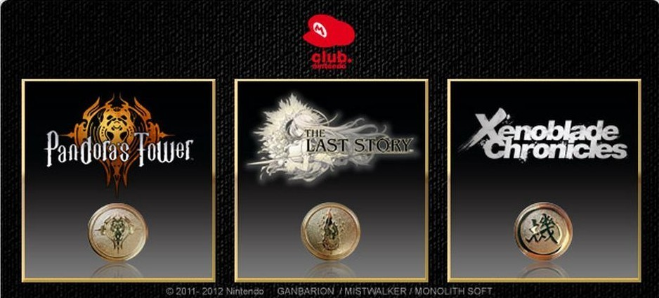 Club Nintendo (Europe) commemorative coins for Xenoblade Chronicles, The Last Story, and Pandora's Tower. This image is from a confirmation email for the promotion, tweeted by Nintendaan. Club Nintendo is handing these out for a limited time to anyone who registers all three games. And for once, European Club Nintendo is looking pretty good! Putting aside the fact that it is, as yet, theoretically impossible to register all three of these games in North America, there's nowhere near the same kind of fanfare for the two that are confirmed – one's a GameStop exclusive and the other is in the hands of another publisher. Not that I don't appreciate the opportunity to play them. Just, you know, coins are neat. Buy: Nintendo 3DS (Flame Red, Pearl Pink, Black, & Blue) Find: Nintendo DS/3DS release dates, discounts, & more See also: Previous Club Nintendo rewards
