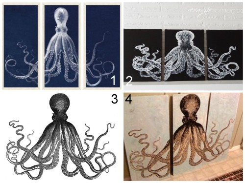 "truebluemeandyou:  Two DIY Knockoff Lord Bodner Octopus Triptych Tutorials: $3,550 Lord Bodner Octopus Triptych here. DIY Knockoff tutorial from Revamp Homegoods here. *I like the clipart of the octopus on the black canvas before the hand painting of the image better. I'd try and either print it on tissue paper or vellum, or get a super cheap ""engineer's copy"" from Staples and then adhere it to the canvases. The Graphics Fairyclipart here. *Tons of Steampunk and clipart images on this site for commercial use! DIY tutorial from 1922 House here (read comments) here."