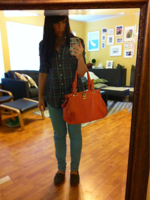 New purse and new jeans; same old shirt, shoes and face. Off to see Cabin in the Woods!