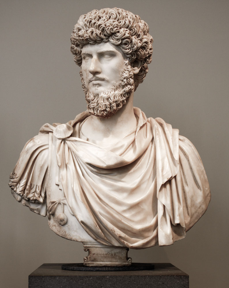 Marble portrait bust of the co-emperor Lucius Verus  Roman, Antonine period, A.D. 161 - 169