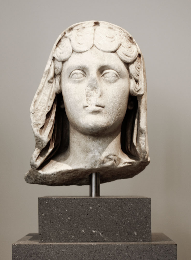 Marble head of the empress Faustina, the Younger, wife of the emperor Marcus Aurelius Roman, Antonine period, A.D. 161-180