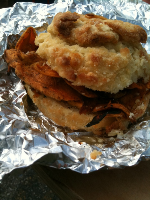 The amazing sweet potato biscuit Sammie from Blacksauce at the Baltimore Farmers Market!