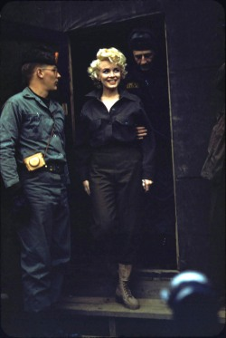 alwaysmarilynmonroe:  A rare colour photo of Marilyn in Korea from the Robert H McKinley Collection, February 1954.