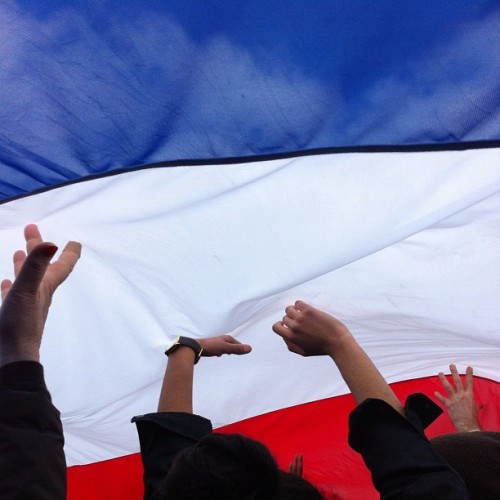 They passed around a giant French flag but I didn't feel any real electricity in the air. (Taken with instagram)