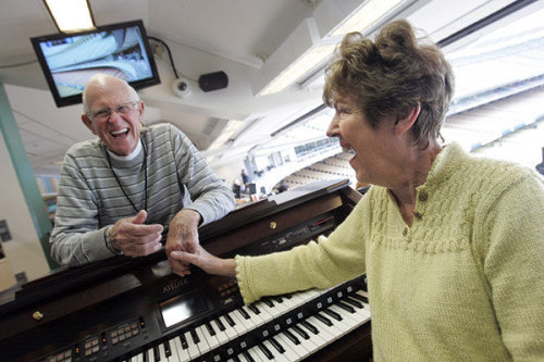 They have a love affair solidified by music and Dodgers baseball: Nancy Bea Hefley is in her 25th season as the team's organist, and husband Billy has been beside her all along. Photo: Nancy Bea Hefley and her husband Billy before a game against the Padres on Friday at Dodger Stadium. Credit: George Wilhelm / Los Angeles Times
