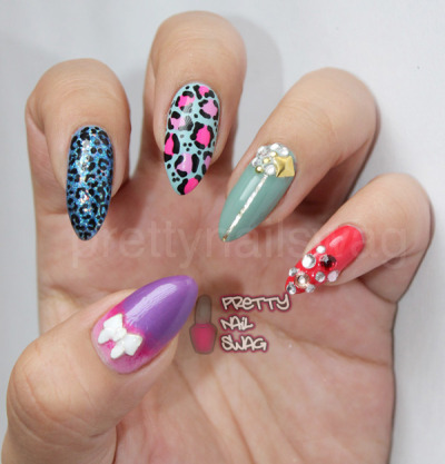 prettynailswag:  Forgot to post these awhile back…mixed mani