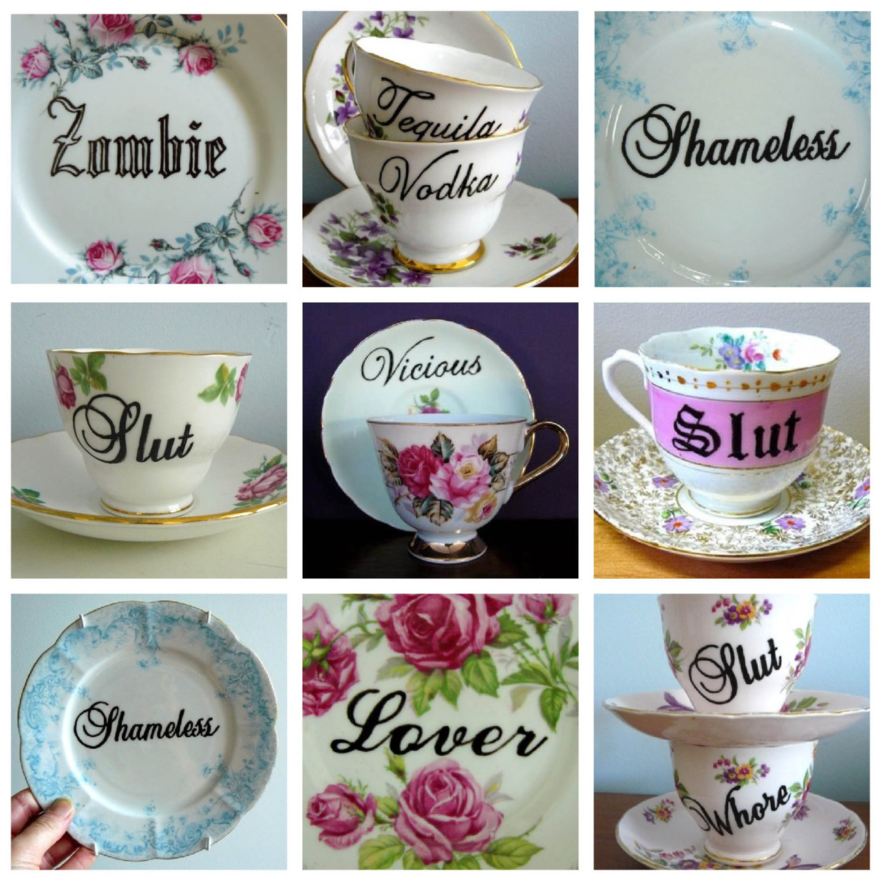 Vandalised Vintage ♡ Really inspired by these reworked teacups and plates by Trixie Delicious. I have a couple of plain white cups to practise on, then going to try and create my own using some vintage teacups I found in a charity shop!