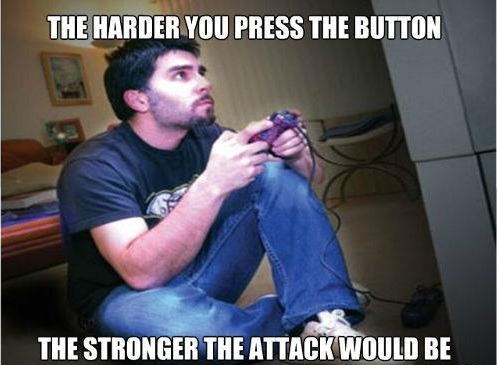 the-absolute-best-posts:  Gaming Logic more you tilt your body your character will get away from danger the louder you yell, the more critical hits you'll land when you stand up you can see everyone's weakspots when you tilt your head you'll be able to see more of the area When you lean forward, you get +30% concentration. When you use controller 1, it means you'll win Throwing yourself bodily to the side helps you avoid obstacles in racing. Threatening the playable character with physical injury will make platform puzzles easier. All of these things. All of them.