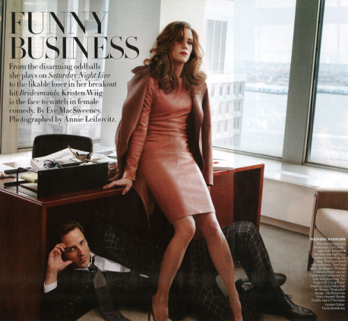 Kristen Wiig and Seth Meyers in Vogue, photographed by Annie Leibovitz.