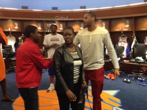 africanessence:  Carmelo Anthony speaking with Trayvon's mother, Sybrina Fulton, in the New York Knicks locker room.  Michael wrote it beautifully, my heart still hurts for her. Check it out on Global Grind.
