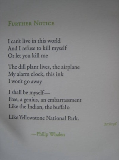 Letterpress broadside by Roger Snell to mark the passing of Philip Whalen.