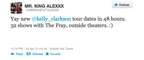 kelly-clarkson:  Seeing as how he met Kelly yesterday, he might not be lying. We will see!