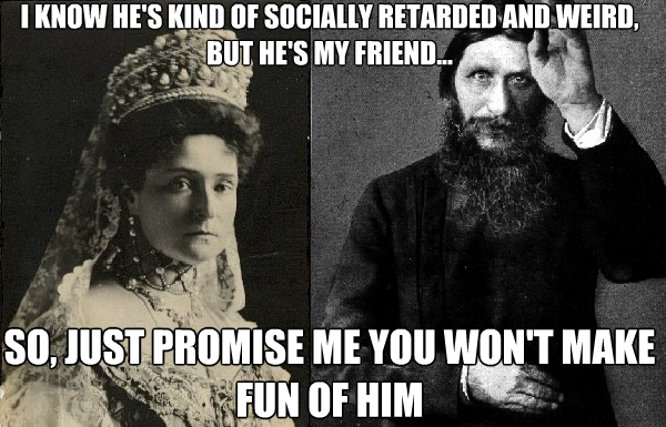 euromeangirls:  Tsarina Alexandra and Rasputin Thanks to http://merrylittlegoldenage.tumblr.com/ for the idea!! :)  OMG MY IDEA