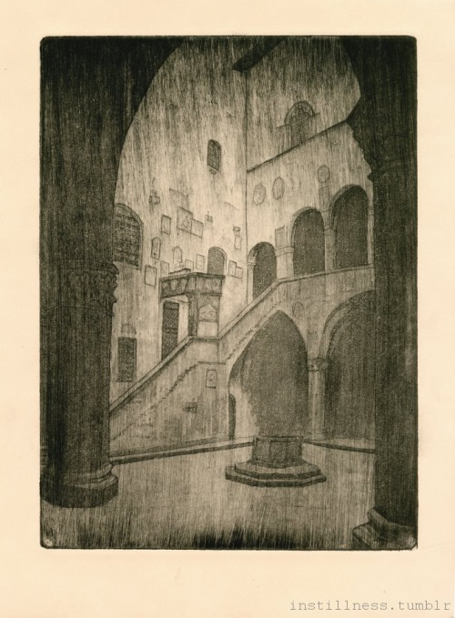 """Courtyard of the Bargello Museum"" Intaglio etching w/ aquatint. 2012(Had Florence on the mind)"