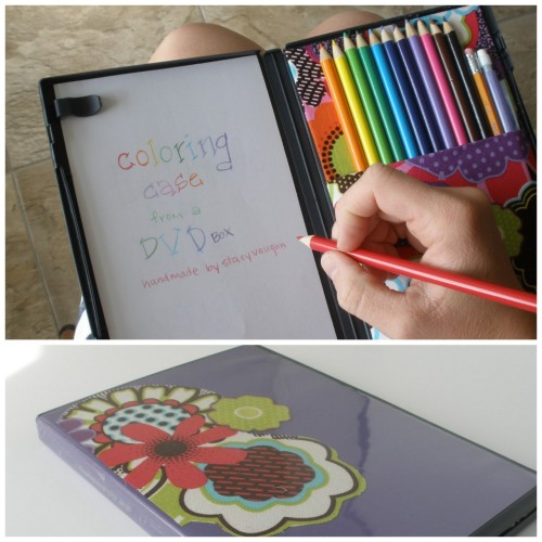 truebluemeandyou:  DIY DVD Color Pencil and Paper Carrying Case. Like this idea of being able to carry around something slim, tiny and organized. Tutorial from Handmade by Stacy Vaughn here.
