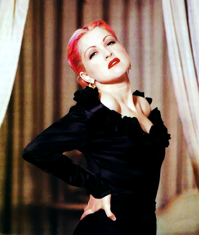 Cyndi Lauper, 1992 with pink purple hair.