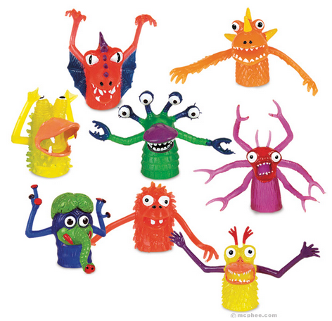 Deluxe Finger Monsters - We think these are one of the most awesome things ever. They are as necessary for life as food, water and shelter. If you feel your life has no meaning or purpose, these little guys provide it for you. PS Their arms jiggle!