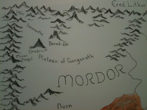 """One does simply walk into Mordor""…. but somebody had to map the place.  9x12"" Bristol, ink and watercolor.  Up in my Etsy as well."