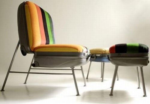 Upcycled suitcase seating.