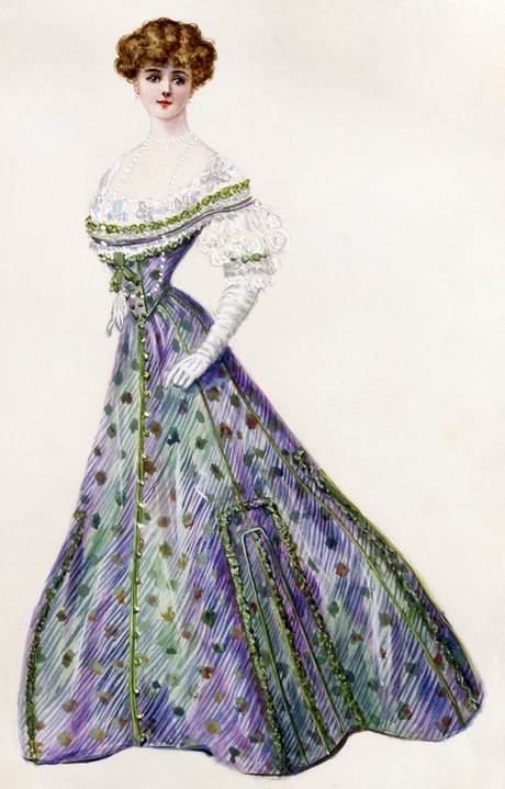 At first glance this 1905 evening gown designed by Lucile and entitled 'A Protest' appears to be just a pretty dress, if not with a slightly unusual name and color combination. The whole truth is far more interesting. I wrote a while back about the Victorian practice of using different colors or gemstones to spell out messages in jewelry. This dress uses the same practice on a larger scale. The color combination of (g)reen, (w)hite and (v)iolet would have sent a very specific message to any one in the know. Specifically: (G)ive (W)omen the (V)ote. This is a suffragette ball gown!